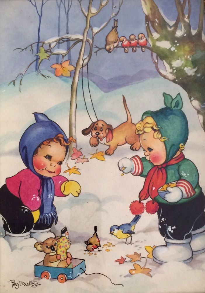 Playing in the Snow. Peg MALTBY.