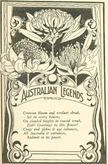 Australian Legends. Tales handed down from the remotest times by the autocthonous inhabitants of our land. C. W. PECK.