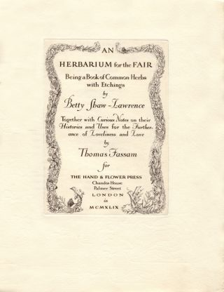 An Herbarium for the Fair. Betty SHAW-LAWRENCE, Thomas FASSAM
