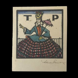 Bookplate for 'TP' (Thea Proctor). Adrian FEINT.