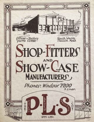 Shop-Fitters and Show-Case Manufacturers. P L. S. COY., The Patent Lever Showcase Coy Pty. Ltd.