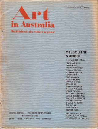 Art in Australia. Third Series. Number 53 - Melbourne Number. ART IN AUSTRALIA, Sydney URE SMITH,...